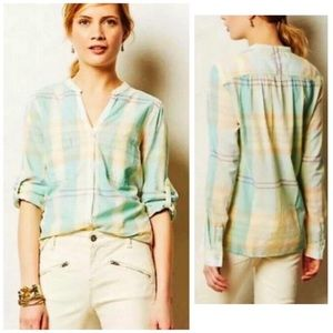 Anthropologie Holding Horses Tiby plaid blouse 8